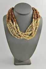 """6 STRAND MOTHER OF PEARL MOP & COCONUT BEAD ADJUSTABLE STATEMENT NECKLACE - 20"""""""