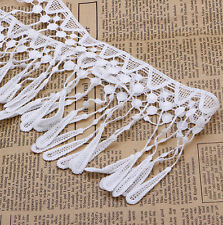 2 Yards White Embroidered Lace Trim Tassel Fringe Sewing Applique Trimmings