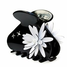 Moliabal Womens Medium Black Claw Hair Accessory with White Floral Design NWT