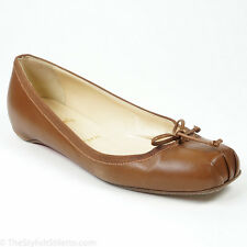 $625 Christian Louboutin 39/8.5 Rosella Brown Leather Square Toe Ballet Flat