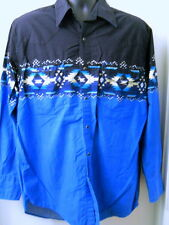 High Noon Western Shirt Large Black Blue Cowboy Rockabilly Aztec Design Snaps