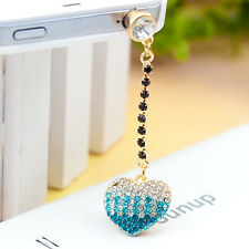 Bling Blue Heart  Anti Dust Plug for iPhone,Samsung Galaxy&3.5mm Earphone Jack