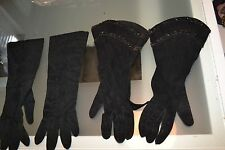 ANTIQUE VINTAGE 2 SETS OF BLACK GLOVES LOT SMALL BEADED OPERA EMBROIDERY SUEDE