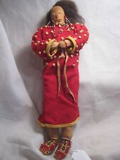 NATIVE AMERICAN INDIAN  BEADED LEATHER DOLL,   W/REAL HAIR...CO-329