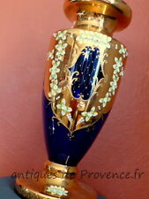 Superbe Grand ancien vase Murano Venise 50cm fleurs émaillées bleu doré Rare