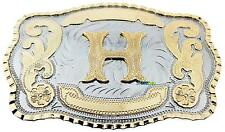 Initial Letter H Western Extra Large Rodeo Cowboy Belt Buckle