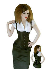 Long back underbust,+straps,Wine red corset,black leather look  Plus size corset