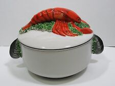 Italian Hand Painted Covered Soup Bowl Pot Dish Italy Numbered Lobster Mussels