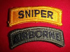 Set Of 2 US Army Shoulder Tab Patches: SNIPER + AIRBORNE