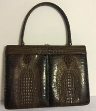 STUNNING VINTAGE GENUINE HORNBACK CROCODILE ALLIGATOR purse handbag