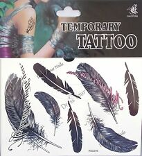 """Feathers"" Temporary Body Tattoo Sheets - Assorted Black"