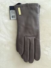 Cole Haan Gorgeous Gray Leather Gloves L New With Tags