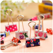24× Cute Metal Binder Clips Paper Clips Clamps Binding For Office Student 19mm