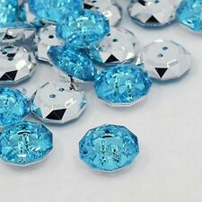 LOT 10 BOUTONS FANTAISIES STRASS BLEU 18 mm - 2 TROUS COUTURE SCRAPBOOKING