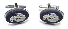 "Wedgwood Jewelry: Silver-Plated OVAL Jasper Cameo Cufflinks ""Bluebell Flower"""