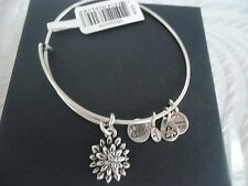 Alex and Ani  WATER LILY Russian Silver Charm Bangle New W/ Tag Card & Box