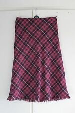 Size 14R BODEN Skirt 100% Wool Purple Pink Long Check Tweed Blanket (45)