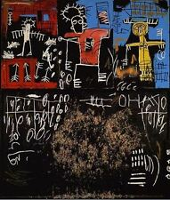 """Jean Michel Basquiat Oil Painting on Canvas Black Tar and Feat HUGE 24x32"""""""