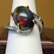 New Custom Chistick 6.45ct Ethiopian black welo opal Diamond & Platinum ring 6.5