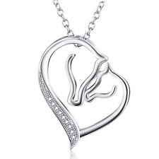 "Mother and Child Horse Head Heart Love Pendant Necklace 18"" 925 Sterling Silver"