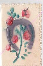 CPA GAUFREE EMBOSSED Bonne Année fer à cheval roses carte double paillettes 1912