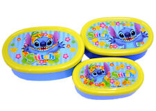 3 Sets Microwavable Bento Box Disney Stitch Lunch Snack Container Made in Japan