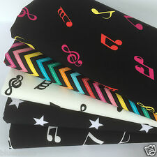 Bundle 5 fat quarters 100%  cotton musical notes funky zig zags & stars