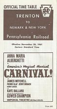 "Anna Maria Alberghetti ""CARNIVAL!"" Mary Martin ""SOUND OF MUSIC"" 1961 Timetable"
