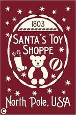Primitive STENCIL, SANTA'S TOY SHOPPE North Pole USA, Teddy Bear, Christmas Cute