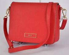 NEW DKNY DONNA KARAN RED SAFFIANO LEATHER FLAP CROSSBODY PURSE HAND BAG