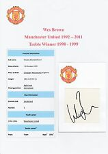 WES BROWN MANCHESTER UNITED 1992-2011 ORIGINAL HAND SIGNED CUTTING/CARD