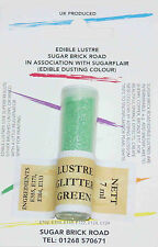 Sugarflair Glitter Green Lustre Dust Powder 7ml Edible Sparkly Food Colour Tint