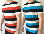 Mens Two 2 Pack T Shirts Crew Neck Striped Blue White Navy Orange Small S Sale