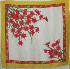 """TERRIART Yellow, Pink, Green Floral Jacquard 35"""" Square Scarf-Vintage"""