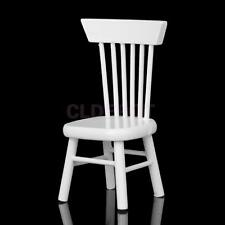 Mini White Wooden Chair Desk Seating for 1/12 Dollhouse Dining Room Furniture