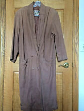 G-III Long Brown LEATHER Trench COAT Duster Womens Size Medium insulated bx23