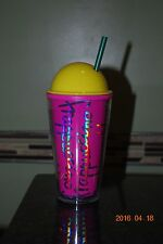 NEW 16 oz Starbucks bright pink Frappuccino cup w/bright yellow domed lid &straw