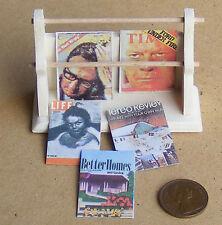 1:12 acabado natural periódico Rack y Revistas Casa De Muñecas Miniatura Accesorios