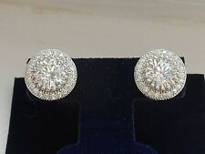 Simulated Diamond 3.00 cttw Sterling Silver Halo stud earrings