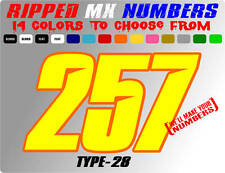 RIPPED 2 COLOR MX NUMBER PLATE RACING DECALS MOTORCROSS STICKERS CAR TRACK SX YZ