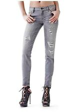 Guess Mid Rise Power Curvy Skinny Jeans In Create Wash Destroyed Details Size 24