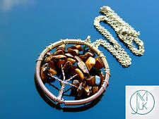 Handmade Tigers Eye Tree of Life Natural Gemstone Pendant Necklace 55cm Chakra