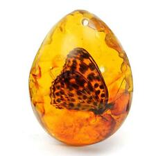 Beautiful Resin Amber  Butterfly Insect Stone Pendant Necklace