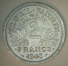 1943 Aluminum France Two Franc Coin XF