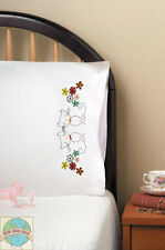 Embroidery Kit ~ Design Works Retro Cats Floral PILLOWCASE PAIR #T232136