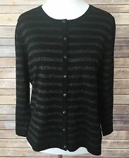 Women's Boden Black Metallic Stripe Button Down Wool Cardigan Sweater Sz 16  #AA