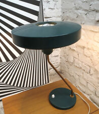 LOUIS KALFF ASSYMETRIC MODERNIST UFO TABLE LAMP LAMPE LEUCHT PHILIPS 50s GREEN