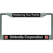 umbrella corporation sheltering your family chrome license plate frame usa made