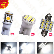 9PCS White LED Lights Interior Package T10 31mm Dome Map License Plate Bulb 12V