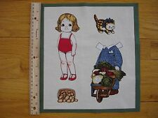 "Paper Doll Farm Girl Vegetable Cart Cat Cotton Quilt Fabric Block 11"" x 9 3/4"""
